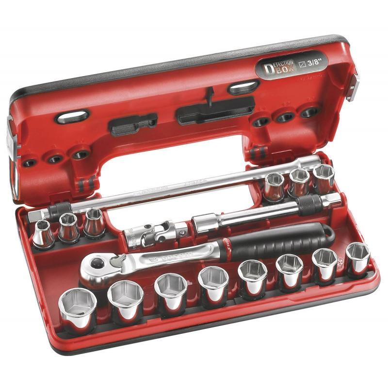 "J.DBOX500 - zestaw nasadek 3/8"" w kasecie, 8 mm - 22 mm"