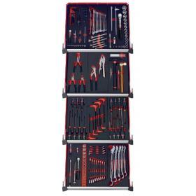 CMM.150BNL - zestaw 150 narzędzi - 12 modułów piankowych, w systemie przechowywania na 4 szuflady wózka