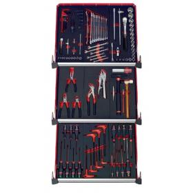 CMM.115BNL - zestaw 115 narzędzi - 9 modułów piankowych, w systemie przechowywania na 3 szuflady wózka