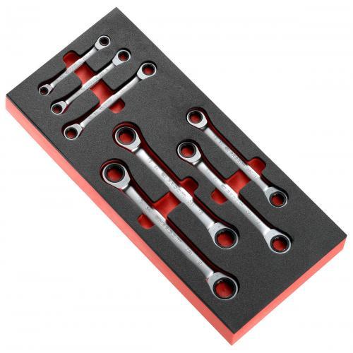 MODM.64J7 - moduł 7 kluczy oczkowych grzechotkowych, 12-kątnych, 6 - 19 mm na wkładce piankowej