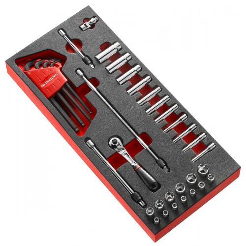 """MODM.RL2 - moduł nasadek 6-kątnych krótkich i długich 1/4"""", 3,2 - 14 mm na wkładce piankowej"""