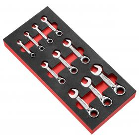 """MODM.467SJU10 - Moduł 10 kluczy grzechotkowych krótkich, 1/4""""- 3/4"""""""