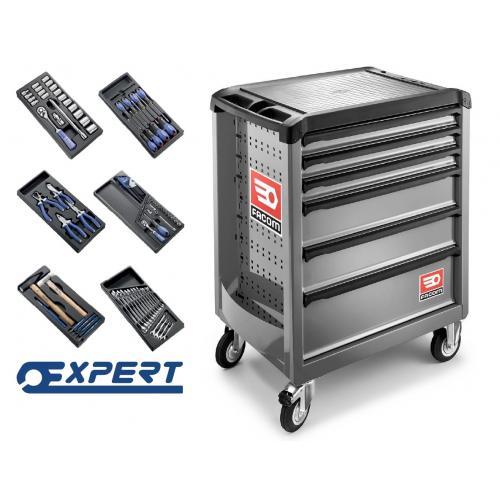 ROLL.6GM3E - wózek ROLL z zestawem 101 narzędzi Expert w wytłoczkach z tworzywa