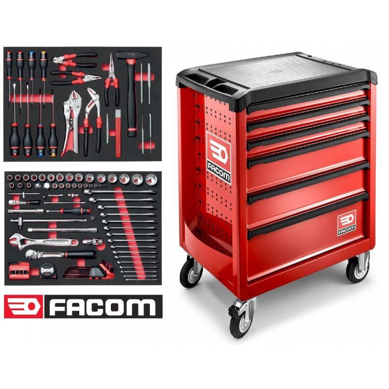 ROLL.6M3F - wózek ROLL, z wyposażeniem 100 narzędzi Facom w wytłoczkach piankowych