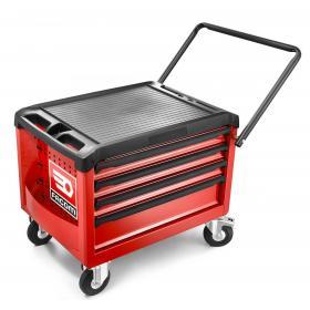 ROLL.CR4M3 - skrzynka na kółkach ROLL, 4 szuflady, 3 moduły na szufladę, czerwona
