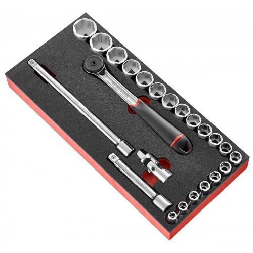 """MODM.S161-46 - moduł nasadek 1/2"""", 6-kątnych, 8mm - 32 mm, wkładka piankowa"""
