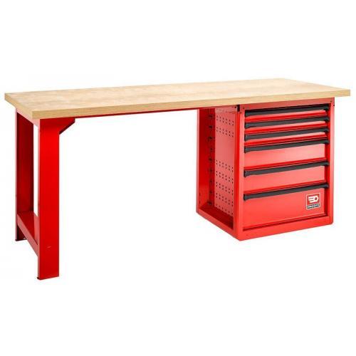 2000.ROLL6M3W - stół warsztatowy ROLL do dużych obciążeń, blat drewniany