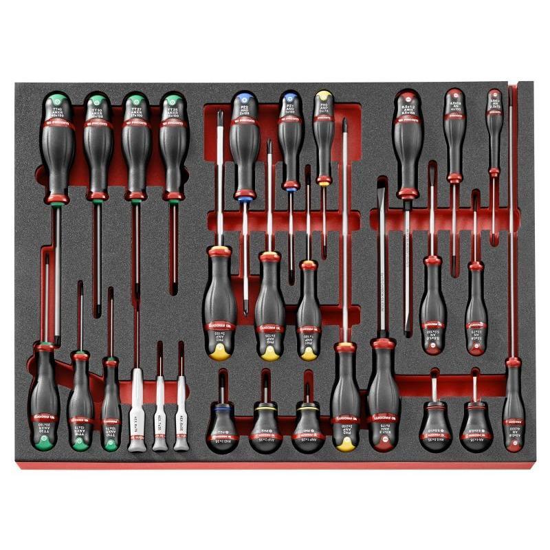 MODM.A456 - Moduł 19 wkrętaków Protwist® do śrub z rowkiem, Phillips, Pozidriv, Torx i Resistorx, wkładka piankowa