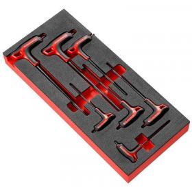 """MODM.89TXA - Moduł 7 kluczy trzpieniowych TORX, z rękojeścią oprawianą """"T"""", T10 - T40, na wkładce piankowej"""
