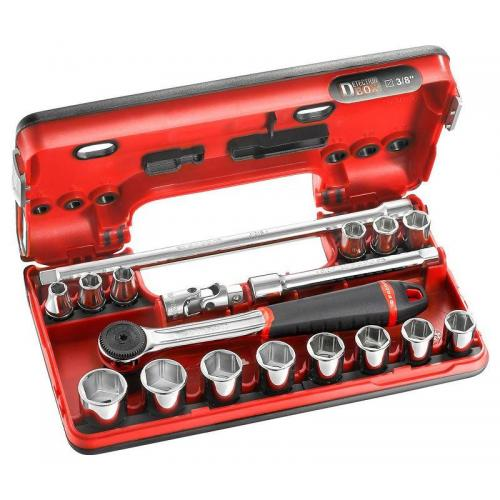 "J.161DBOX1 - 3/8"" metrics 6-point sockets set"