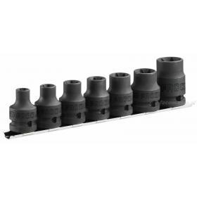 "NSTX.J7 - zestaw nasadek Torx® 1/2"" 6-kątnych na szynie, E10 - E24"