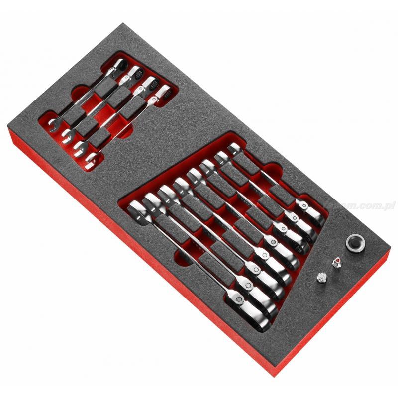 MODM.467BFJ12 - moduł 12 kluczy oczkowo płaskich przegubowych grzechotkowych i adapterów na wkładce piankowej