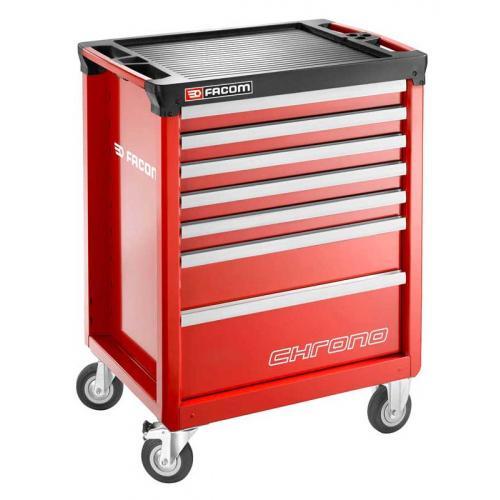 CHRONO.7M3A - wózek 7 szuflad, 3 moduły na szufladę, czerwony