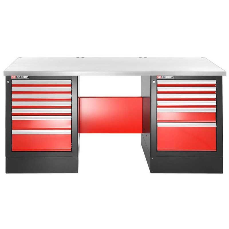 JLS2-2MS13DH - stół warsztatowy 2 m, blat metalowy, 13 szuflad, wysoki