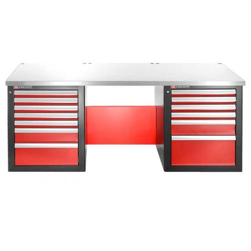 JLS2-2MS13DL - workbench 2 m, metal worktop, 13 drawers, low version