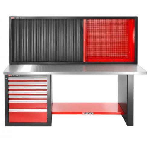 JLS2-2MS7DSCL - stół warsztatowy 2 m, blat metalowy, z szafką JLS2-MHTR, niski