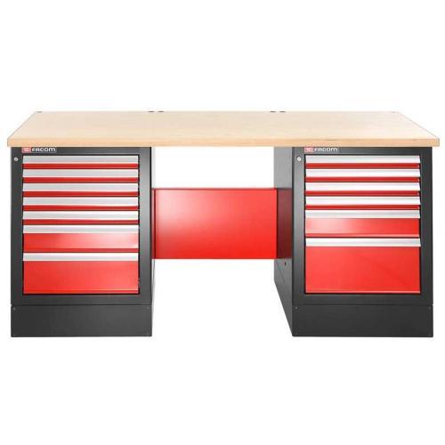 JLS2-2MW13DH - stół warsztatowy 2 m, blat drewniany, 13 szuflad, wysoki