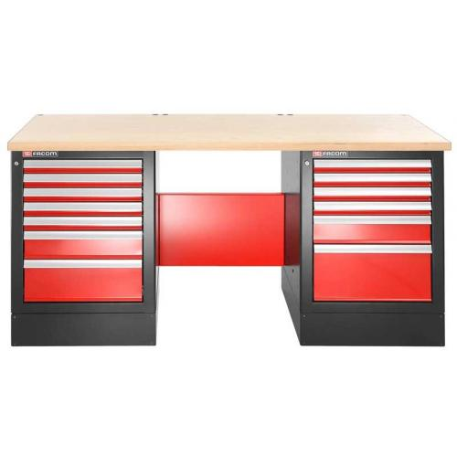JLS2-2MW13DH - workbench 2 m, wooden worktop, 13 drawers, high version