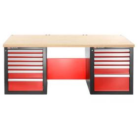 JLS2-2MW13DL - stół warsztatowy 2 m, blat drewniany, 13 szuflad