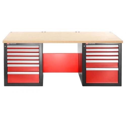 JLS2-2MW13DL - stół warsztatowy 2 m, blat drewniany, 13 szuflad, niski