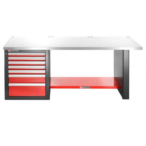 JLS2-2MS7DL - workbench 2 m, metal worktop, 7 drawers, low version