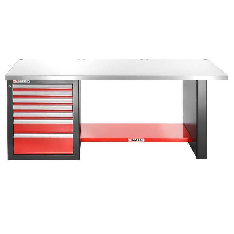 JLS2-2MS7DL - stół warsztatowy 2 m, blat metalowy, 7 szuflad, niski