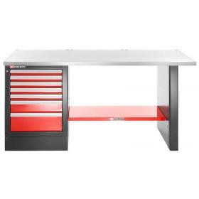 JLS2-2MS7DH - stół warsztatowy 2 m, blat metalowy, 7 szuflad, wysoki