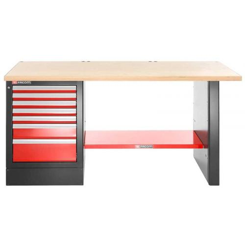 JLS2-2MW7DH - stół warsztatowy 2 m, blat drewniany, 7 szuflad, wysoki
