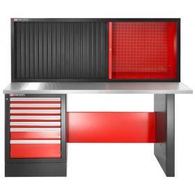 JLS2-2MS7DSCH - stół warsztatowy 2 m, blat metalowy, z szafką JLS2-MHTR