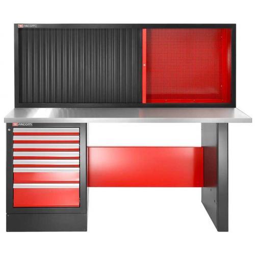JLS2-2MS7DSCH - stół warsztatowy 2 m, blat metalowy, z szafką JLS2-MHTR, wysoki