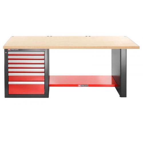 JLS2-2MW7DL - workbench 2 m, wooden worktop, 7 drawers, low version