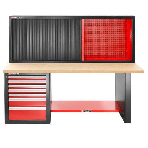 JLS2-2MW7DSCH - stół warsztatowy 2 m, blat drewniany, z szafką JLS2-MHTR, wysoki