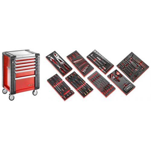 JET6M3.CMAG - wózek JET z 6 szufladami wózek warsztatowy z wyposażeniem, 9 modułów, czerwony