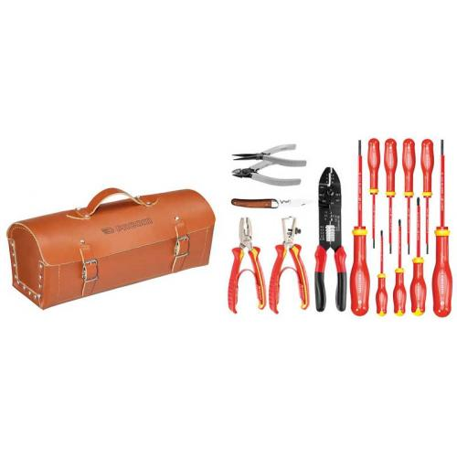 2180.SE - ELECTRICIANS TOOLS IN LEATHER BAG