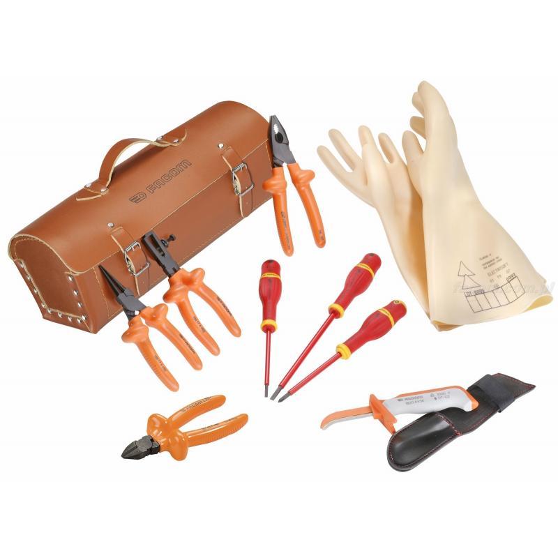 2180B.VSE - zestaw 10 narzędzi izolowanych w torbie skórzanej