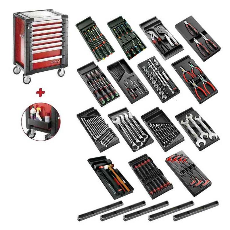 SPOTLIGHT15PKW - wózek warsztatowy z wyposażeniem, 15 modułów, czerwony