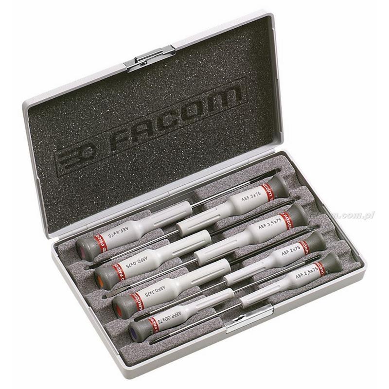 AEF.J6 - zestaw 8 wkrętaków Micro-Tech® do śrub z rowkiem, Phillips® i Pozidriv®, 2 - 4 mm, PH00 i PZ0 - PZ1