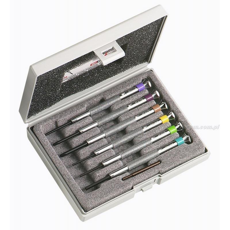 HB.2B - zestaw 6 wkrętaków zegarmistrzowskich do śrub Phillips® i 6-kątnych, PH00 - PH1 i 1,5 - 2,5 mm