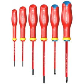 ATDVE.J6PB - Zestaw 5 wkrętaków izolowanych PROTWIST® VE do śrub z rowkiem i Pozidriv, 2,5 - 5,5 mm i PZ1 - PZ2