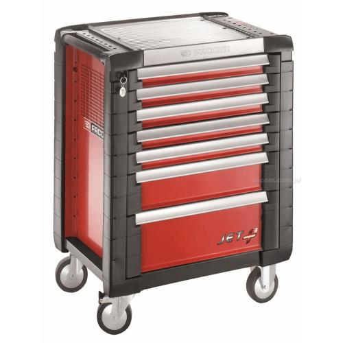 JET.7M3 - JET + trolley, 7 drawers, 3 modules per drawer, red