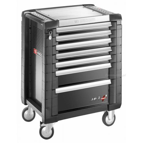 JET.7GM3 - JET + trolley, 7 drawers, 3 modules per drawer, black