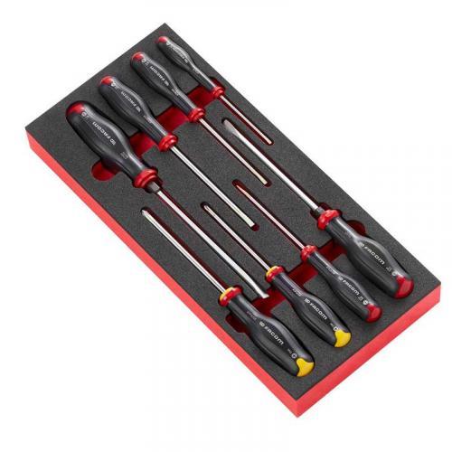 MODM.AT1 - Moduł 8 wkrętaków Protwist® do śrub z rowkiem i śrub Phillips, 3,5 - 8 mm i PH1 - PH2, wkładka piankowa