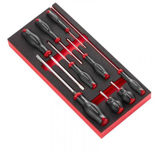 MODM.AT4 - Moduł 9 wkrętaków Protwist® do śrub z rowkiem, 2,5 - 8 mm, wkładka piankowa