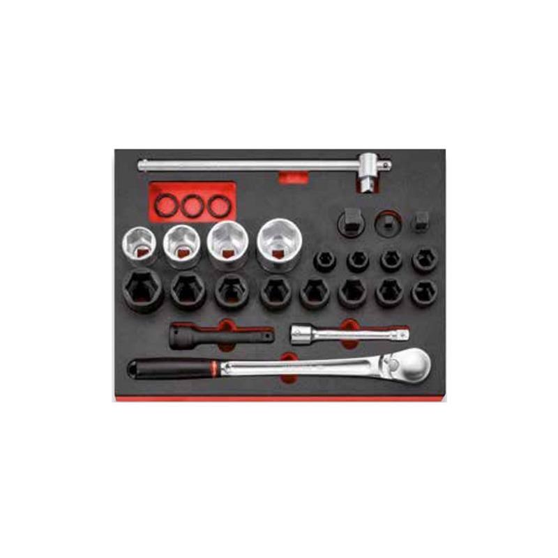 """MODM.XXL8PF - Zestaw narzędzi nasadowych 3/4"""" w module piankowym"""