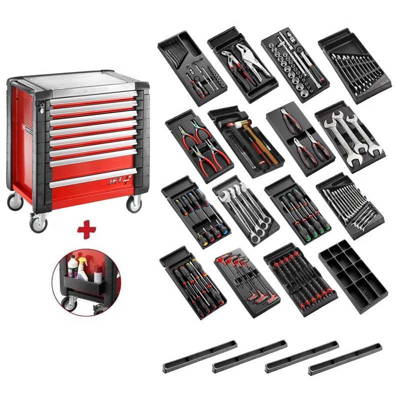 SPOTLIGHT16PKW - Wózek narzędziowy 9 szuflad, z 15 modułami. czerwony