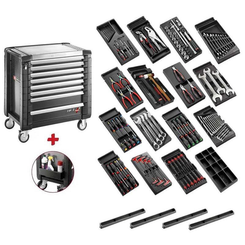 SPOTLIGHT16PKWG - Wózek narzędziowy 9 szuflad, z 15 modułami, czarny