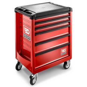 ROLL.6M3S - wózek ROLL, 6 szuflad, 3 moduły na szufladę, czerwony, bezpieczny
