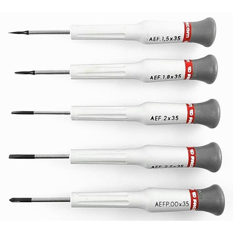 AEF.J1 - zestaw 5 wkrętaków Micro-Tech® do śrub z rowkiem i Phillips®, 1,5 - 2,5 mm i PH00