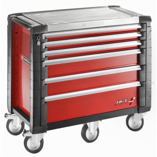 JET.6M5 - wózek JET+, 6 szuflad, 5 modułów na szufladę, czerwony