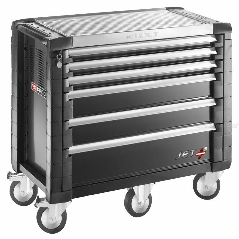 JET.6M5 - wózek JET+, 6 szuflad, 5 modułów na szufladę, czarny